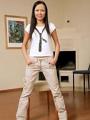 Irene - Petite schoolgirl dildos tight twat