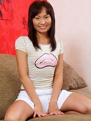 Moni - Asian Dildo - Asian cutie puts big dildo in pussy