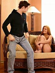 Horny teen laura gags on her boyfriends hard cock